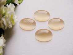 4 Glascabochon 1,8 cm, apricot, Klebeperlen, Cabochon, Vintage Schmuck verzieren