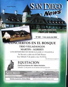 Newsletter del Country San Diego anunciando un Concierto en el 2004 de Conciertos en el Bosque.