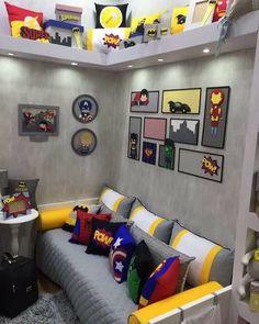 Inspiração: Quarto super heróis! Completamente apaixonada por essa decoração, que coisa mais linda  Cada detalhe e cada objeto deixaram o quarto com a cara dos desenhos em quadrinho de super heróis, muito lindo!