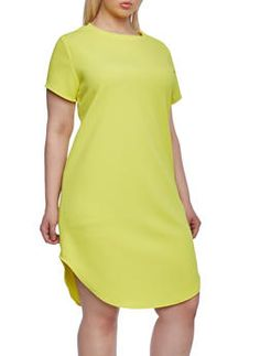 Plus size t-shirt dress yellow