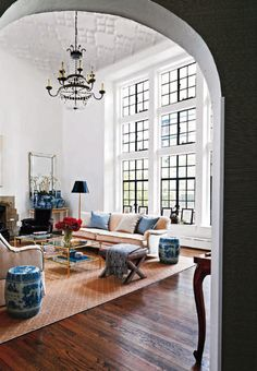 window panes from floor to ceiling. via Chinoiserie Chic