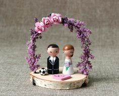 Custom Wedding Cake Topper: Peg doll custom cake topper - Wooden cake topper - Purple wedding arch - Sport cake topper - Bride and Groom