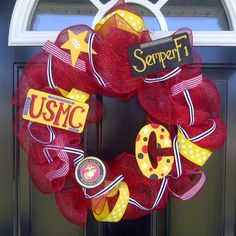 """My Birthday Present from my Amazing Allyson!!  I stole her pin so I could show off my pretty wreath!  She said- """"I made this for my BFF for her birthday, and she finally got it in the mail, so I can post a picture I it!""""   Thanks Again Ally- I LOVE it! You made this Marine Wife very happy :)  and Anthony loves it too!"""