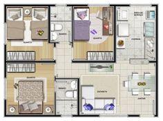 Projeto de casa com 3 quartos Dream House Plans, Modern House Plans, Small House Plans, House Floor Plans, 4 Bedroom House Designs, Three Bedroom House Plan, Small House Design, Cool House Designs, Small Cottage Homes