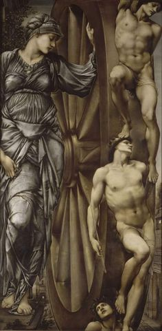"""Edward Burne-Jones """"The Wheel of Fortune"""" Oil on canvas Pre-Raphaelite Located in the Musée d'Orsay, Paris, France Oil On Canvas, Canvas Art, Pre Raphaelite Brotherhood, Edward Burne Jones, John Everett Millais, Tate Britain, Tate Gallery, Wheel Of Fortune, Romanticism"""