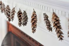 Pine cone and fish line garland