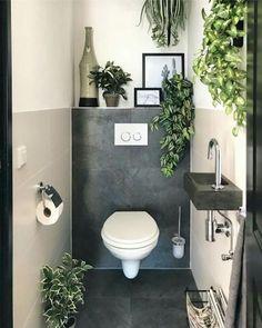 Baños de cortesía y cómo lucir uno de 10 – Decoración de Interiores Small Downstairs Toilet, Small Toilet Room, Downstairs Bathroom, Bathroom Layout, Bathroom Interior Design, Master Bathroom, Bathroom Storage, Small Toilet Decor, Small Dark Bathroom