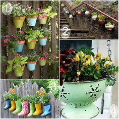 ideas for hanging flowers...  Too bad I threw out the girl's first pair of rain boots after they cracked!!