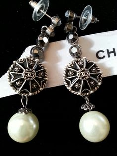 Chanel Button Earrings ArmCandyDesignsbyZ on Etsy