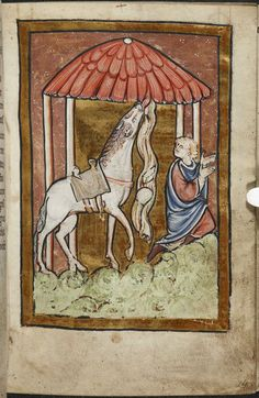 Miniature of the young St Cuthbert kneeling in prayer, interrupted by his horse finding bread and cheese wrapped in linen hidden within a roof, from Chapter 5 of Bede's prose Life of St Cuthbert, England (Durham), 4th quarter of the 12th century, Yates Thompson MS 26, f. 14r