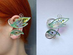 Elf earrings butterfly wings earrings fairy earrings girlss earrings flower jewellery jewelry present wings earrings jewellery wings Elf Ear Cuff, Ear Cuffs, Wire Crafts, Jewelry Crafts, Handmade Jewelry, Jewelry Ideas, Col Crochet, Elf Ears, Wing Earrings