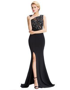 Grace Karin Sleeveless Black Mermaid Evening Dresses Floor Length Elegant Long  Formal Dresses Robe De Soiree Sexy Evening Gowns 6ef96ab6e721