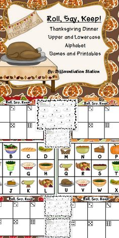 This is a Thanksgiving dinner themed center, game and printables. This is a game that can be used in a center or small group setting. Kindergarten, preschool, homeschool, RtI. $