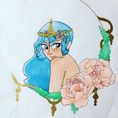 Princess flowers peonies prismacolor markers art my art