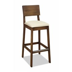 Banqueta de Madeira com Assento Estofado Gourmet - Tecido Claro Chair Redo, Ikea Chair, Diy Chair, 30 Bar Stools, Bar Chairs, Office Chairs, Kitchen Chairs, Side Chairs, Office Chair Makeover