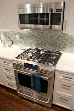 GE Cafe 30 gas range and GE Cafe microwave. Wed want the dual-fuel range and that microwave.