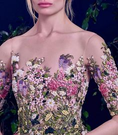 The Royal Haute Couture Collection by Krikor Jabotian Silk Ribbon Embroidery, Embroidery Dress, Embroidered Dresses, Couture Details, Floral Fashion, Purple Fashion, Beautiful Gowns, Beautiful Life, The Dress