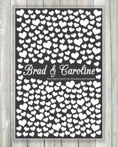Wedding Guest Book Alternative Art Print, Custom Wedding Guestbook Poster, Signature Heart Wedding Guestbook, 250 Guests, Bridal Shower Gift by CaldsonDesigns, $54.00