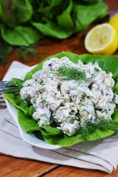 Greek-inspired Tzatziki Chicken Salad ~ with fabulous flavor from the cool, creamy yogurt and cucumber combination of traditional Tzatziki sauce.   www.thekitchenismyplayground.com  #chickensalad #Greek #Tzatziki