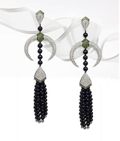 Shaun Leane onyx and diamond earrings with tsavorites from the Tribal Deco collection