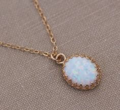 Genuine White Opal NecklaceGold Crown Edge by hangingbyathread1