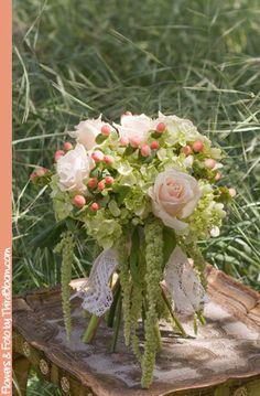 Bouquet with green hydrangea, amaranthus, roses, & peach hypericum berries