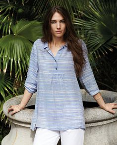 Poetry - Striped Linen Tunic - In our new textured linen,  this is a lovely lightweight tunic. With simple shirt styling, a buttoned placket and small gathers for a relaxed A-line silhouette. Slightly sheer. 100% linen