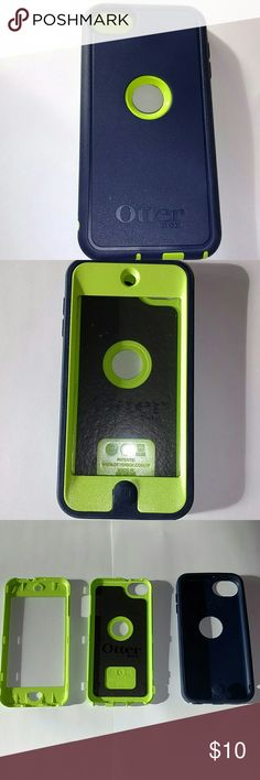 iPod Touch 5 Otterbox Case This OtterBox case for the iPod Touch 5th generation is lime green and navy blue in coloring with a built-in screen protector. There is no sign of wear on the protective edges of the case (the blue area), yet there is a very golden speckles of what I assume is paint. It is unnoticeable until you get up close and may be able to be removed, but there is no guarantee. On the inner casing around the screen protector there is a few specks of dirt, but the entire case…