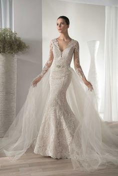 Lace wedding dress with long sleeves | 636 by Demetrios