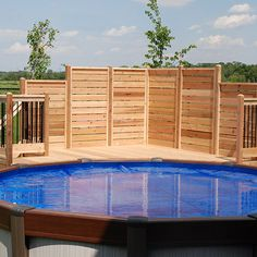 32 Awesome Stylish Pool Fence Design Ideas - Swimming pool fences are expected to secure babies and little youngsters. These systems keep kids from the dangers of suffocating and let them approac. Above Ground Pool Landscaping, Above Ground Pool Decks, Backyard Pool Landscaping, In Ground Pools, Landscaping Ideas, Farmhouse Landscaping, Pool Deck Plans, Pool And Deck Ideas, Deck Ideas With Privacy