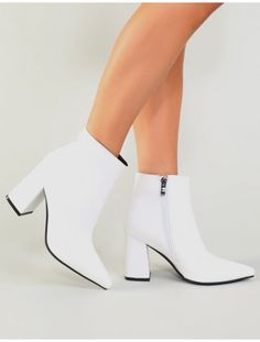 4bec3e90e6645 Empire Pointed Toe Ankle Boots in White Bottines Blanches, Chaussure, Peep  Toe, Bottines