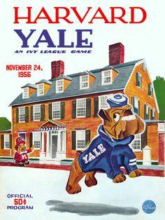 1956 Harvard Crimson vs Yale Bulldogs 22 x 30 Canvas Historic Football Poster. Pinned by Judi Crowe