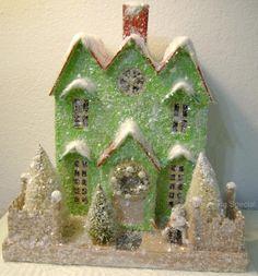 Cardboard Lighted Christmas Glitter House