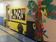 Beginning of school door decoration.  Pete the Cat is driving our bus.