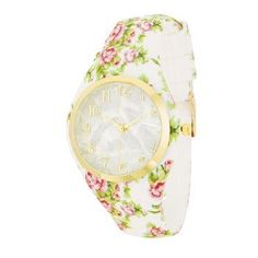 Fashion Watch With Pearl Dial And Rubber Strap