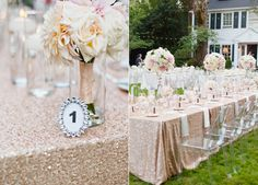 Floral bouquets for the tables are ribbon wrapped and placed in slim vases. Glamorous Garden Wedding