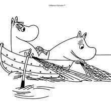 MOOMIN ON A BOAT for children coloring page