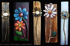 Create some beautiful yard art... Use a thin piece of wood and some garden stones and create pretty garden art for your backyard fence or your garden.  I would use E6000 or some other outdoor adhesive to make these stick and hold up through rainy, wet weather.