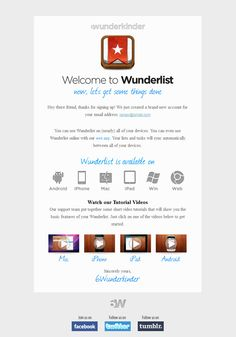 Wunderlist #WelcomeEmail