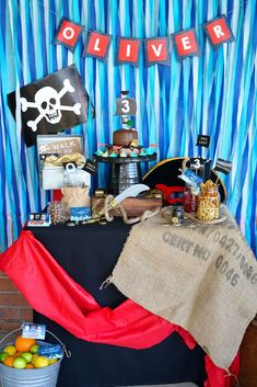 Check out the cool dessert table at this Classic Pirate birthday party!! See more party ideas and share yours at CatchMyParty.com #catchmyparty #pirate #desserttable #boybirthday