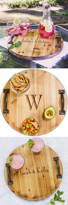 Serving trays are in style for entertaining guests indoors and outdoors. A wonderful gift for the home and a rustic kitchen accent piece, a round wood serving tray personalized with a name, initial or short phase is a useful gift idea your maid or matron of honor, bridesmaids, mom, sister, or best friend will take joy in using to serve drinks when entertaining. This serving tray can be ordered at http://myweddingreceptionideas.com/personalized-rustic-wood-serving-tray-with-handles.asp