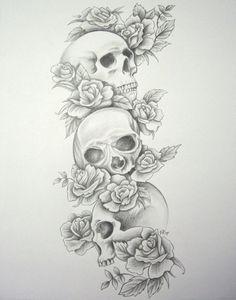 Triple skulls and roses