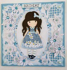 Girl die cut card handmade by Lorraine Smallacombe
