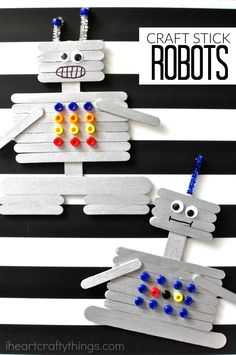 Creative Craft Stick Robot Craft is part of DIY crafts For Boys - This craft stick robot craft for kids is a fun and creative craft for kids Fun kids craft, preschool craft and summer kids craft Summer Crafts For Kids, Crafts For Teens, Diy For Kids, Kids Fun, Summer Kids, Spring Crafts, Diy Crafts For 5 Year Olds, Kids Boys, Vbs Crafts