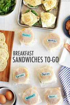 breakfast sandwiches to go...how to...good idea for a quick and better for you breakfast....