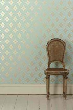 Aqua gold wallpaper - bathroom