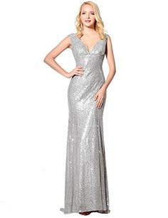 Belle House Womens Long Silver Sequins Prom Gown V Neck Lace Up Mermaid Evening Dress -- You can find out more details at the link of the image.(This is an Amazon affiliate link and I receive a commission for the sales)