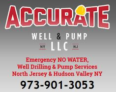 Well Pump & Tank, 24/7 EMERGENCY No Water/Low Water Pressure Services, Well Services & Water Treatment in North Jersey & Southern NY (Hudson Valley).