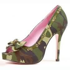 Army Shoes - Adult Shoes - Shout commands in style with these Sexy Shoes! Army Shoes - Adult Shoes includes camouflage patterned canvas peep toe shoes with 4 inch heels, laces side detail, and bow with gold-colored star. Camo High Heels, Peep Toe Shoes, Shoes Heels, Pink Heels, Cute Shoes, Me Too Shoes, Weird Shoes, Army Shoes, Rangers