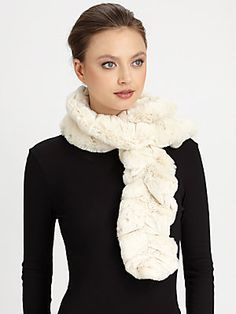 Donna Salyers for Saks Fifth Avenue Faux Fur Couture Ruffled Scarf